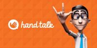Logo da Hand Talk e Hugo, tradutor automático da Hand Talk, com fundo laranja.